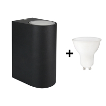 Udendørs LED væglampe TORRE 2xGU10/6W/230V antik sort IP54